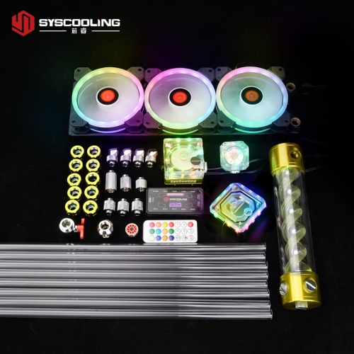 Syscooling PC water cooling kit for Intel CPU socket PETG tube liquid cooling system RGB support